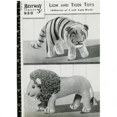 Vintage 1940's Lion & Tiger Knitting Pattern